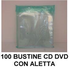 100 BUSTINE PORTA CUSTODIA CD DVD IN PVC TRASPARENTE CON ALETTA RICHIUDIBILE