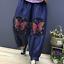 Women Ethnic Floral Embroidery Harem Pants Elastic Waist Denim Pants Loose Long