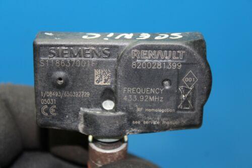 Renault scenic ii 2 1x presión neumáticos sensor RDK sensor 8200281399 650392729