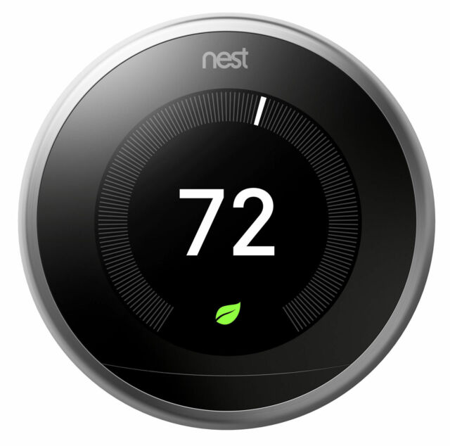 Nest 3rd Generation Stainless Programmable Thermostat + Google Home Mini Chalk