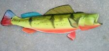 Peacock Bass Carved & painted from Palm Tree Frond art nautical decor beach fish