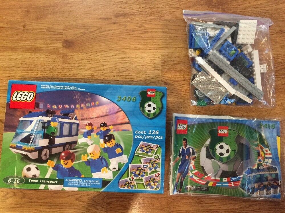 LEGO SPORTS 3406 Team Transport Soccer WORLD CUP Bus Complete In Box