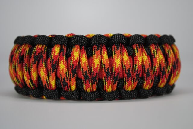 550 Paracord Survival Bracelet King Cobra Black Red Fireball Camping Tactical