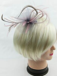Image is loading Silver-grey-and-pale-pink-fascinator-on-a- 52966e34656