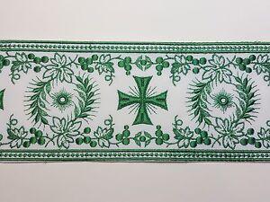 Vintage-Orphrey-Cruz-Diseno-Verde-Encendido-Blanco-Banda-para-Vestment-11-4cm