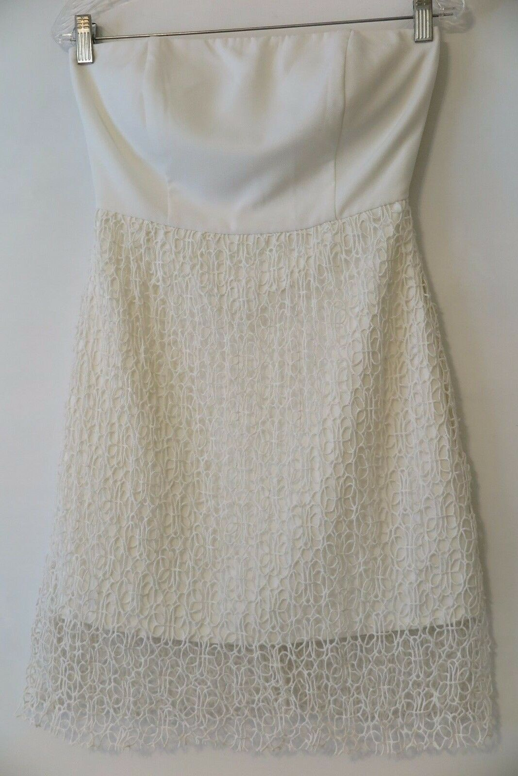 NWT Aryn K. K. K. Strapless White Tube Dress w Lace Overlay Size S MSRP  150 d05ddc