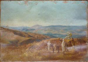 Peinture-orientaliste-Philippe-CHARLEMAGNE-1840-1906-Maroc-Atlas-A-restaurer