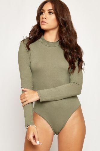 Women/'s Ladies Polo Turtle Neck Camo,Tartan,Leopard Printed Bodysuit Leotard Top