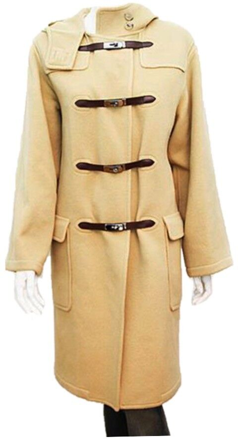 HERMES 100% Cashmere Camel Long Hooded Coat With Kelly Birkin Fasteners Size 36