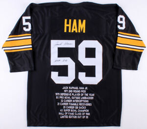 cf386a8c7 Image is loading Jack-Ham-Signed-Pittsburgh-Steelers-Career-Stat-Jersey-