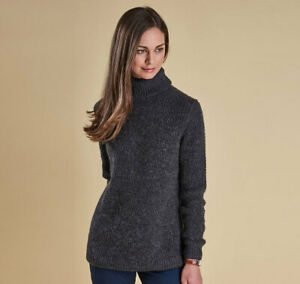 NWT-Women-039-s-Barbour-Larkspur-Knit-Charcoal-Gray-Turtle-Neck-Sweater-Size-10