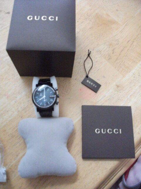 cc58a1100b7 Gucci 101g Black PVD Diamond Mens Watch YA101340 for sale online