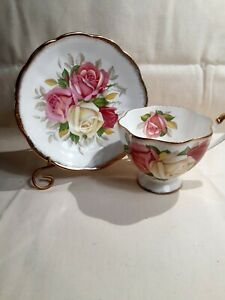 Vintage-Queen-Anne-Cup-And-Saucer-034-Lady-Sylvia-034-England-Bone-China
