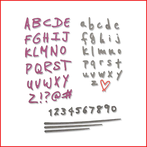 Sizzix Thinlits Die Set 4PK Doodle Alphabet /& Numbers by Sophie Guilar One Size