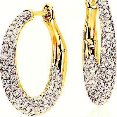 Fine Jewelry Pave 1,80 Cts Runde Brilliant Cut Natürliche Diamanten Creolen In 18 Karat Gold 100% Original