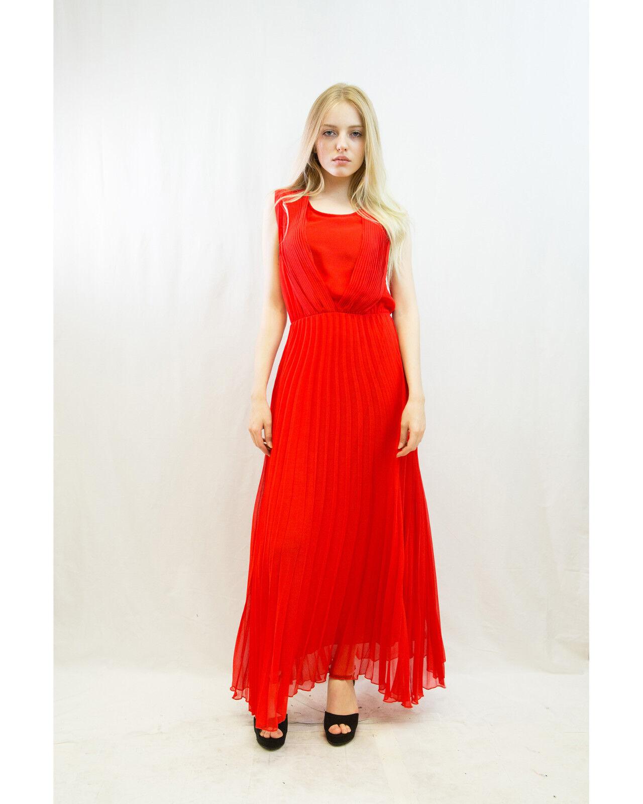 Lady pleine longueur plissée en mousseline de de de soie robe longue fête de mariage bridemate vacances wear 1420d0
