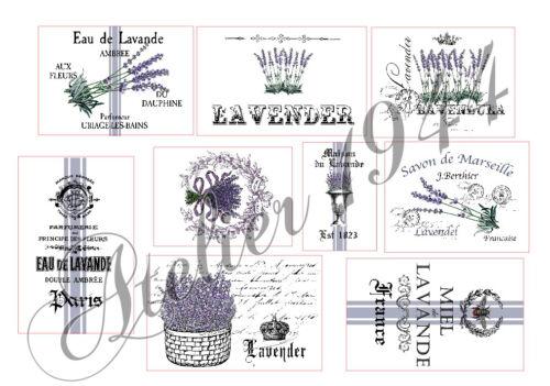 1025 Vintage-French-lavanda Pegatinas-muebles tatuaje-transparente-sticker-SHABBY
