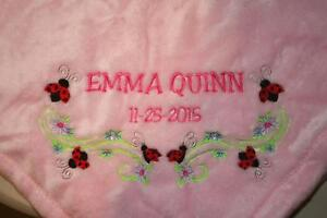 Personalized Monogrammed Baby Blanket Soft Tahoe Fleece Several Colors /& Designs