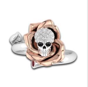 Fabulous Women s Skull Ring Punk Two Tone Flower Skeleton Diamond ... c47c459214