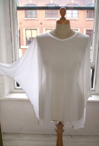 Baylis Knight WHITE Batwing Long SHEER Oversized RELAXED Top Steam Punk Goth 80s