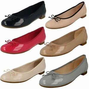 73f256b76635 LADIES CLARKS SLIP ON LEATHER BOW BALLERINA FLAT PUMPS SHOES SIZE ...