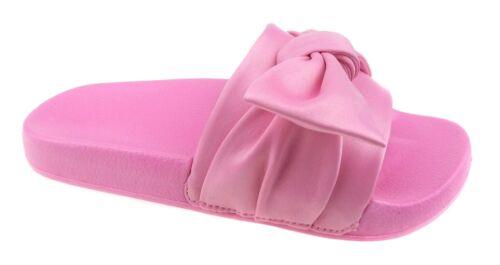 Wonder Nation Girls/' Pink or Black Fabric Bow Slide Sandals Size 4-5