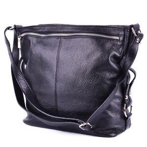 Italy Handtasche Leder Schwarz Tasche Ledertasche Shopper Zipper Umhängetasche FwxOOEqz5
