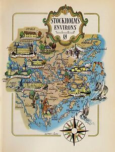 Vintage STOCKHOLM Sweden Map Scandinavia Fun Artistic Pictorial Map