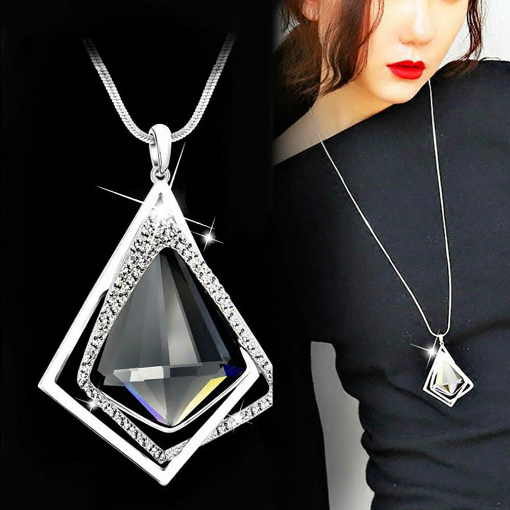 Jewellery - QA_ WOMEN FASHION DIAMOND PENDANT LONG SWEATER CHAIN NECKLACE PARTY JEWELRY FI