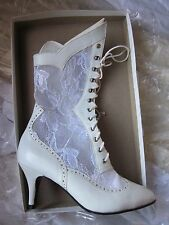 nwb WHITE calf leather/lace up BOOT Wedding Western Victorian Granny SteamPunk 6