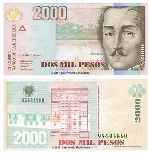 Colombia 2000 Pesos p-458 2017 UNC Banknote