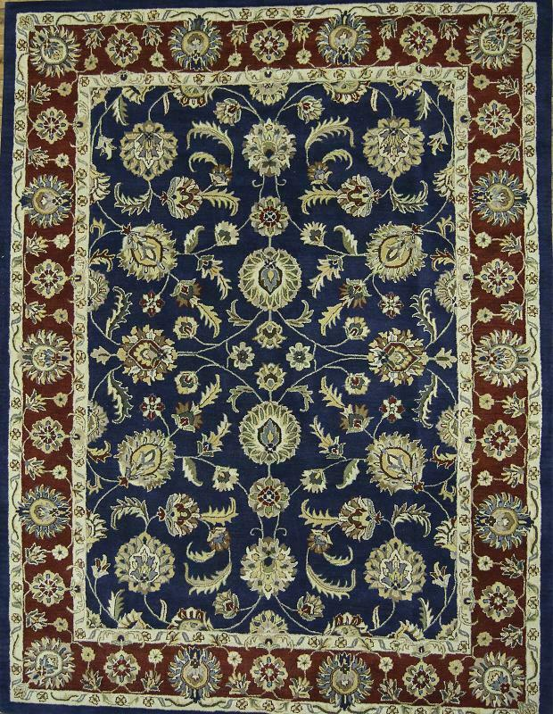 All-Over Traditional Floral Floral Floral Agra Oriental Hand-Tufted 5'x8' Blau Wool Area Rug 817bc3
