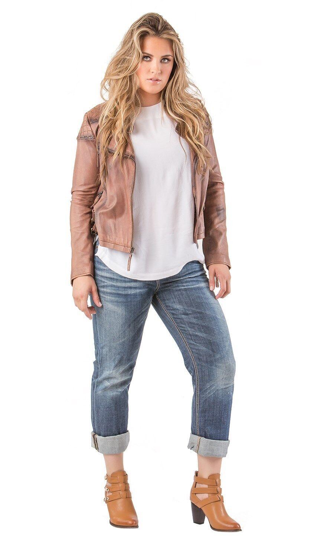 Standards & Practices Women's Plus Size Stretch Denim Whisker Boyfriend Jeans