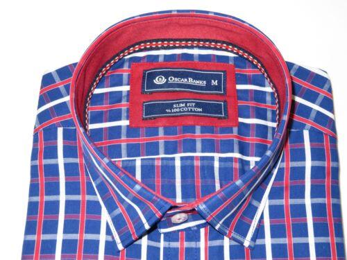 Men Oscar Banks Turkey Shirt All Egyptian Cotton Wrinkle less 5844-08 navy red