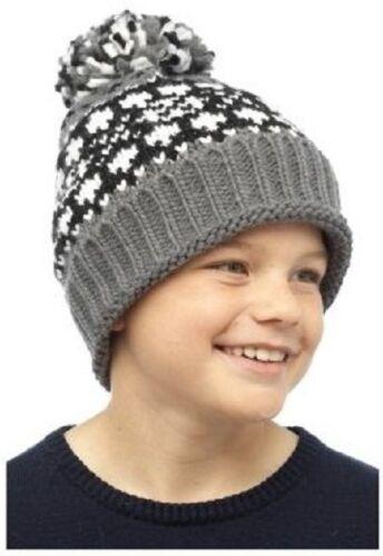 Garçons funky rétro chapeau de trappeur /& chaud épais jacquard pompon chapeau beanie 3-13 ans