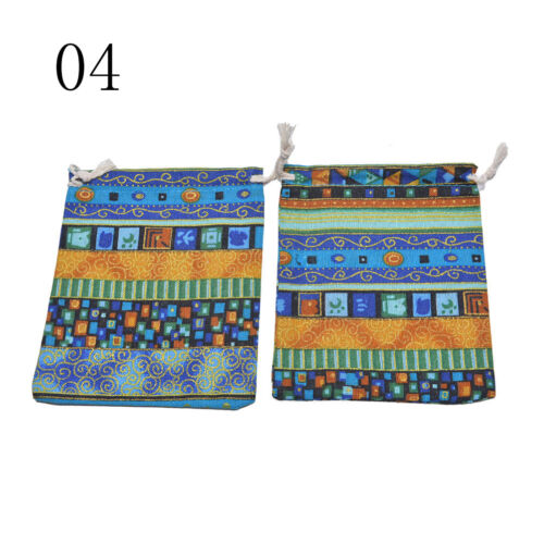 3Pcs 9.5x12cm Linen Bunt Tribal Tribe Drawstring Jewellery Gift Bags Pouches OF
