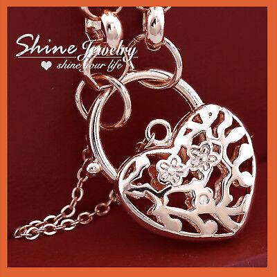 9K YELLOW GOLD GF VINTAGE LOVE HEART DIAMOND PADLOCK SOLID RINGS BRACELET BANGLE