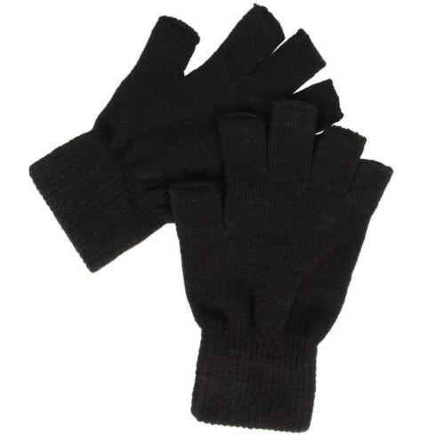 Linea UOMO DONNA Guanti senza dita neri senza dita caldo Stretch Black Magic Gloves