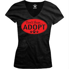 Don't Shop Adopt Rescue Shelter Paws Adoption Pets Lovers Juniors V-neck T-shirt