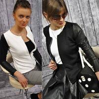 Women Zip Leather Blazer Long Sleeve Lady Slim Blouse Parka Jacket Coat Outwear