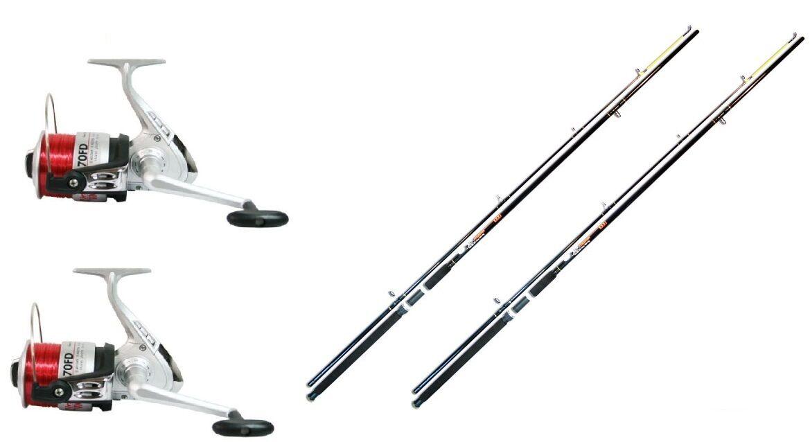 2 x 12ft 2pc Beach   Beachcaster Sea Fishing Rods + 2 Lineaeffe Silk 70 Reels
