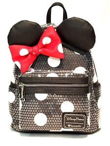 9dca0680b1 Image is loading Disney-Parks-Minnie-Mouse-Loungefly-mini-backpack-black-