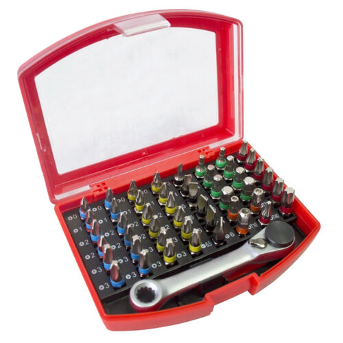 New 49pc Colour Coded Bit Set with Ratchet Bit Holder Includes Storage Case!