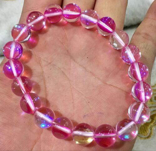 "new 6-12mm Multicolor Gleamy Rainbow Moonstone Round Gems Beads Bracelet  7.5"""