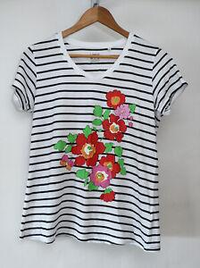 Orla-Kiely-for-Uniqlo-White-Floral-Print-Graphic-T-Shirt-Medium