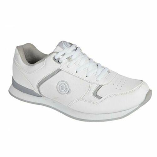 DEK Ladies Mens Touch Close Lace Casual Comfort Bowling Shoe Trainers White/Grey