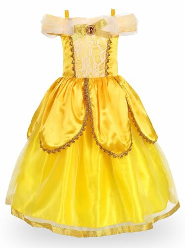 Princess Belle Dress Costume Party Dress Deluxe Fancy Cosplay Dress Up for Girls