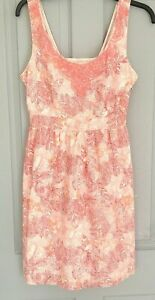 Fat-Face-Pink-White-Cotton-Strappy-Summer-Dress-Lined-UK-12