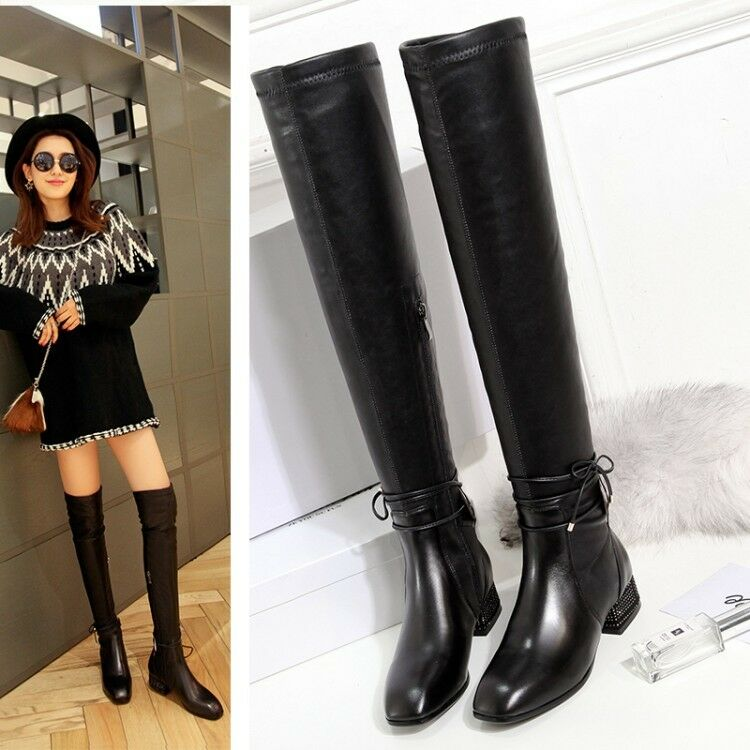 New Womens Fashion Black Lace Up Round Toe Block Low Heels Over Knee High Boots
