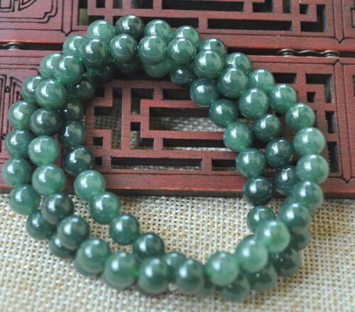 8mm 100/% Natural A green Emerald Jade Pendant ~ Necklace Have certificate